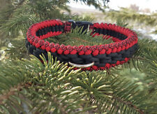 Paracord Dog Collar Sanctified Weave - Diamond Red/Red/Black