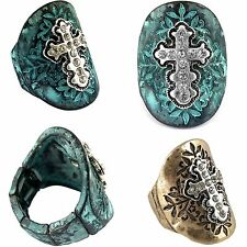 Western Cowgirl Vintage Hammered Stretch Ring Cross Gypsy Patina or Copper