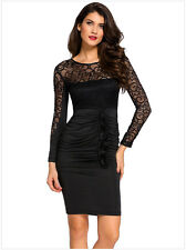 Women Fashion Vestido Lace Stitching Long Sleeve Sexy V-backless Slim Fold Dress