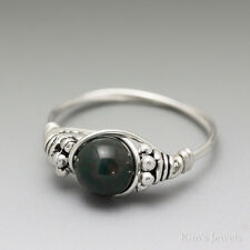 Bloodstone Heliotrope Bali Sterling Silver Wire Wrapped Bead Ring