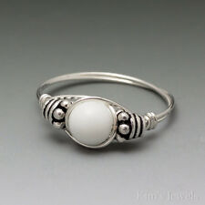 White Agate Bali Sterling Silver Wire Wrapped Bead Ring