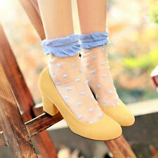 Sweet Faux Suede Simple Women's Round Toe High Block Heel Slip On Stylish Shoes