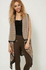 SLEEVELESS SOFT WARM KNITTED WATERFALL CARDIGAN