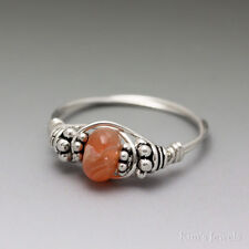 Orange Agate Bali Sterling Silver Wire Wrapped Bead Ring