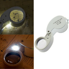 25mm Glass LED Light Magnifying Magnifier Jeweler Eye Jewelry Loupe Loop Silver