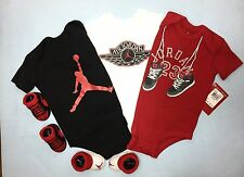 AIR JORDAN 5-pc Outfit gift Set 3 Bodysuits/Romper & 2 pairs of Booties 0-6M