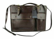 BRIEFCASE MAN SHOULDER BAG GENUINE LEATHER MADE IN ITALY DARK BROWN