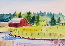 Landscape With Building 5-  an original ACEO Watercolor Landscape painting