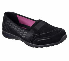 22976 Black Skechers Shoes Memory Foam Women Casual Slip On Comfort Suede Loafer