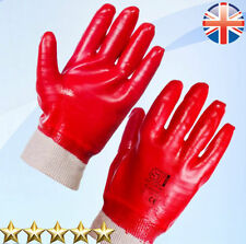 24 Pairs Red PVC Coated Knitted Wrist Rubber Work Gloves Mens Builders Gardening