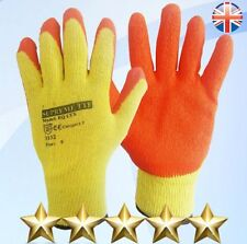 24 PAIRS LATEX COATED ORANGE RUBBER SAFETY WORK GLOVES MENS BUILDERS GARDENING