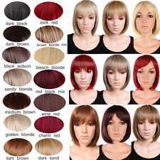 UK Short BOB Full Head Wigs Cosplay Party Daily Fancy Dress Neat Fringe Red D8#