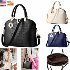 Ladies Handbag Shoulder Tote Crocodile Hobo PU Leather Purse Messenger Body Bag