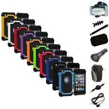 Color Deluxe Hybrid Hard Case Cover+8X Accessory for iPod Touch 4th Gen 4G 4