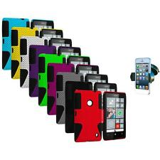 For Nokia Lumia 520 Hybrid Mesh Hard/Soft Silicone Color Case Cover+Car Mount