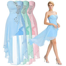 New Bridesmaid Short Chiffon Strapless Ball Wedding Formal Party Dress Stock GK