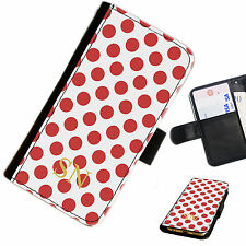 (INI126-T19) PERSONALISED RED POLKA DOTS INITIAL PU LEATHER PHONE CASE COVER