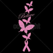 Breast Cancer Awareness T Shirt Believe Butterfly Pink Ribbon Support Fight Hope