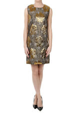 AMEN New Woman Taupe Crew Neck Sleeveless Brocade Floral Printed Gold Dress NWT