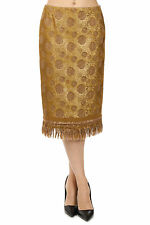 DRIES VAN NOTEN New Woman Gold Fringes Mid calf Skirt NWT