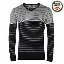Lee Cooper Stripe V-Neck Knit Jumper Mens Navy/Grey Sweater Pullover Top