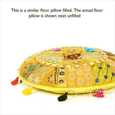 "28"" Yellow Round Decorative Floor Cushion Seating Pillow Throw Cover Bohemian Bo"