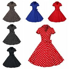 Women Vintage Rockabilly Polka Dot Swing 50s 60s Pinup Housewife Cocktail Dress