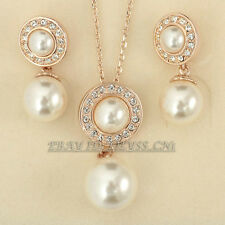 A1-S061 Fashion Pearl Earrings Necklace Jewelry Set 18KGP Rhinestone Crystal