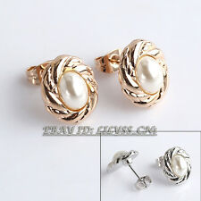 B1-E804 Fashion White Pearl Button Stud Earrings 18KGP