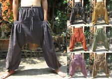 Harem Low Drop Crotch Yoga Boho Baggy Hippie Aladdin Unisex Comfy Trousers Pants