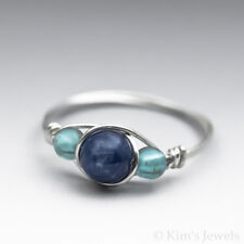 Blue Kyanite & Neon Apatite Sterling Silver Wire Wrapped Bead Ring