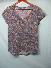 NWT  Chaps by Ralph Lauren Women's  Blue, and Tan Short Sleeve Paisley Top
