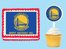 Golden State Warriors Edible Birthday  Cake Cupcake Toppers Plastic Pick Sticker