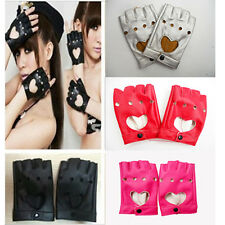 Nice Women Punk Leather Driving Biker Fingerless Mittens Dance Motorcycle Gloves