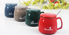 New Coffee Cups Ceramic Cups With Lid Spoon Mugs Creative Breakfast Cups Supply