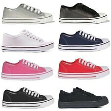 Ladies Womens Flat Lace Up Canvas Plimsoll Pumps Low Top Trainers Shoes Size 3-8