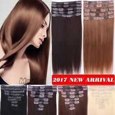 100% Real Top Tape Weft Clip in Remy Human Hair Extensions Virgin 80g-120g N396
