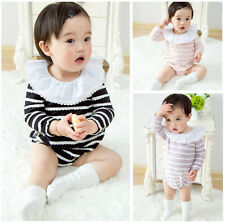 Baby Girls Infant Toddler Ruffles Neck Long Sleeve Romper Jumpsuit Cotton Baby