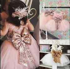Kids Baby Girl Flower Bow Mesh Dress Wedding Occasion Party Princess Dress 6M-4