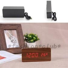 Electronic Digital Wooden LED Alarm Clock Sounds Control Temperature Desktop New