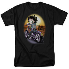 Betty Boop WILD BIKER Riding Motorcycle into Sunset Licensed T-Shirt All Sizes