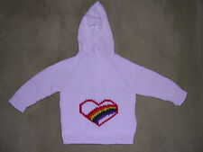 NEW! Hand Knit Baby Rainbow Heart Sweater back zipper 6 or 12 month White