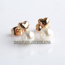 B1-E810 Fashion No Stone Love Heart Stud White Pearl Earrings 18KGP