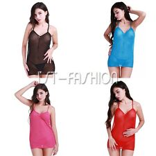 Women's Lingerie See-Through Sheer Mesh Babydoll Nightwear Dress with G-string