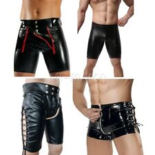 Mens Patent Leather Boxer Briefs Underwear Sexy Lingerie Shorts Trunks Nightclub