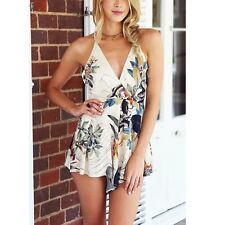 Women's V-Neck Floral Jumpsuit&Romper Trousers Bodycon Sexy Party Club Playsuit