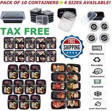 10 Meal Prep Containers 1/2/3 Compartments Reusable Plastic Food Storage Diet