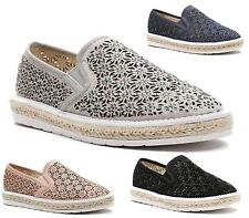 Ladies Flats Womens Cut Out Daisy Chunky Slip On Pumps Beach Plimsoles Shoes