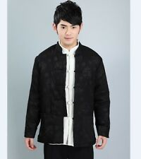 Chinese Men's Dragon winter cotton Jacket/Coat Black Size: M L XL XXL XXXL