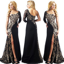 Sexy One Shoulder Lace Split Maxi Formal Party Prom Ball Gown Evening Long Dress